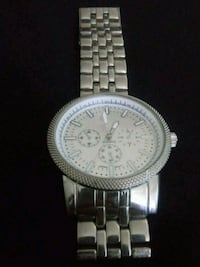 round silver-colored chronograph watch with link bracelet Redding, 96001