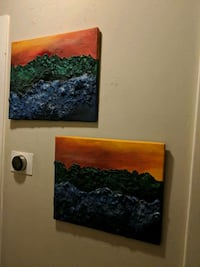 2 mixed media paintings. Orange blue and green art Fort Worth, 76133