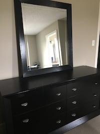 Black Dresser with Mirror and Nightstand  3179 km