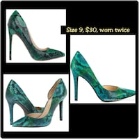 pair of green leather platform stilettos Tuscaloosa