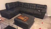black suede sectional couch with ottoman Riverview, 33578