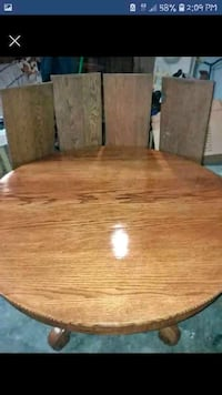 brown wooden round table with chairs Albia, 52531