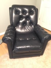 Navy leather recliner  null