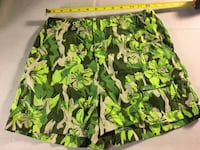 grey,black,and green floral shorts