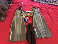Black scuba Fins and mask and snorkel w/carry mesh sack  Honolulu, 96817