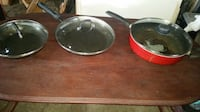 3 cooking pans with lids Stockton