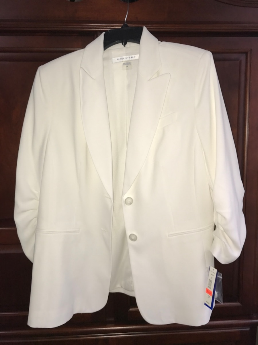 white 2-button formal suit jacket