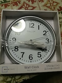 gray and white mainstays wall clock in box Blountville, 37617