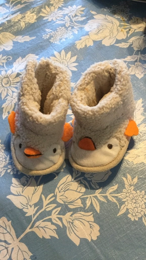 White ducky slippers