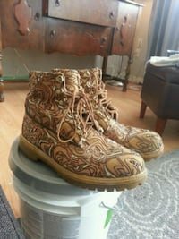 brown-and-white leather lace-up work boots