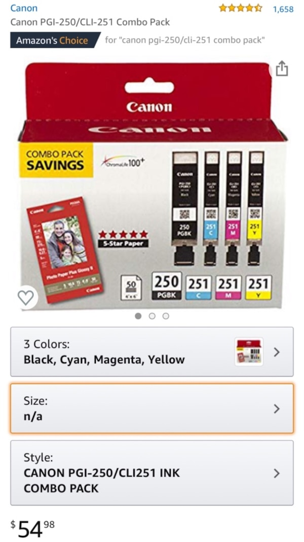 Canon Ink / Photo Paper Combo Pack 421cfc6f-c813-4668-9553-f298e01dc200