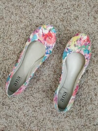 pair of white-pink-and-blue floral Ana kitten heels