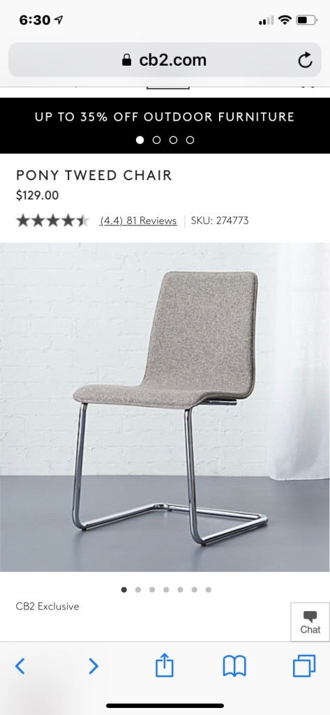 Beau CB2 PONY TWEED CHAIRS (x2)