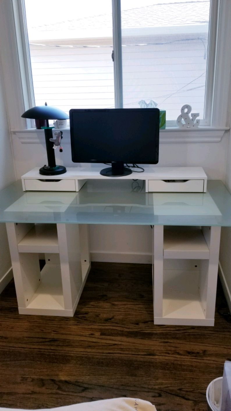 Attirant Desk Ikea Glass Table With 2 Sides