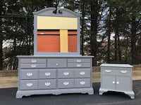 Solid Wood Long Dresser W Mirror & Nightstand Gray With White Handles  Woodbridge, 22192