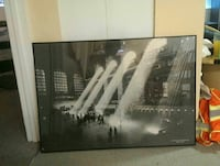 black framed painting lighted building