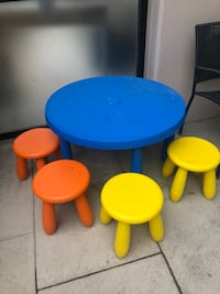 Children's table and 4 stools...Like new only pick up  Toronto, M2K 1C3