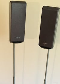 OmniMount Speaker Stands with Sony Speakers - Silver Arlington