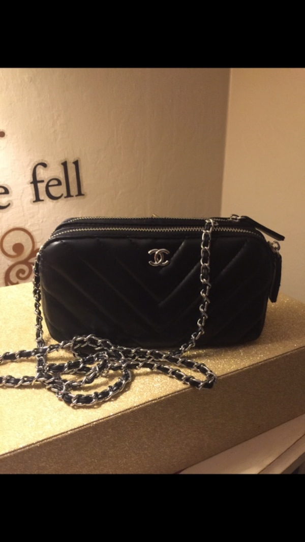 Black Leather Chanel Crossbody Bag