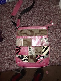 pink and black floral crossbody bag null