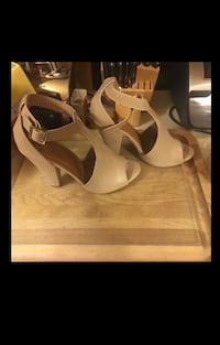 """Taupe Leather """"My Delicious Shoes"""" Ankle Strap Peep Toed Heels Bear, 19701"""