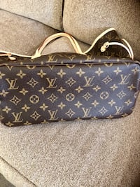 monogrammed blue and brown Louis Vuitton leather bag 2063 mi