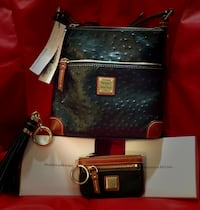 Brand new Dooney & Bourke leather handbag, new matching coin wallet & tassel accessory included(still in box) Magnolia, 19962