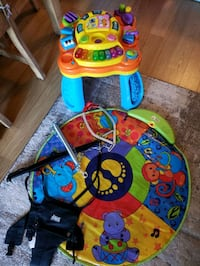 Jolly jumper, music mat and activity table