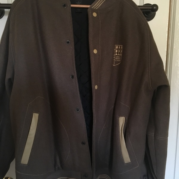 a8ff11cab55 Used ADIDAS Sport Lore Wool Letterman Varsity Buttoned Coat Jacket ...