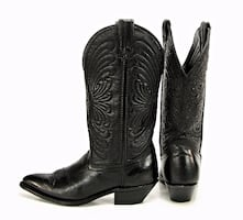 Laredo Women's Size 5.5 Black Leather Western Cowboy Cowgirl Boots Made in USA.