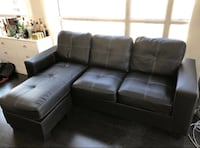 FREE DELIVERY: BEAUTIFUL BLACK LEATHER SECTIONAL COUCH -EXCELLENT COND Markham, L3R 9W3