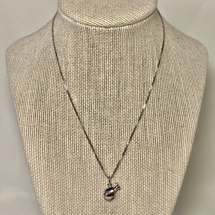Genuine Sterling Silver Snail Pendant with Sterling Box Chain ad2d872a-99f0-40a0-890b-3d21e125e0b1