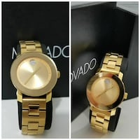 round gold analog watch with link bracelet collage