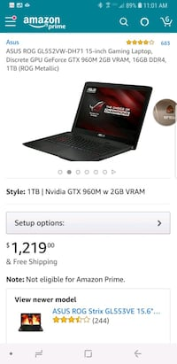ASUS ROG GL552VW-DH71 15-inch Gaming Laptop, Discr Bothell, 98012