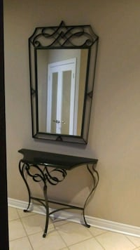 Bombay black iron console & mirror