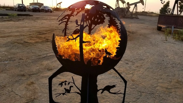 Hand made heavy steel decorative fire pit (Globe) - Used Hand Made Heavy Steel Decorative Fire Pit (Globe) For Sale In