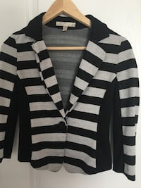 Black and gray striped button-up jacket
