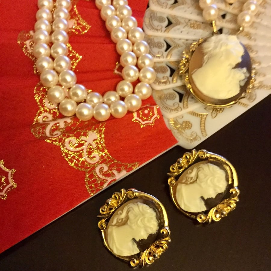 Lovely Cameo necklace with earrings together /  Unique and beautiful jewelry come visit