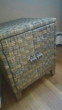 gray and beige woven 2-door chest Warwick, 02886