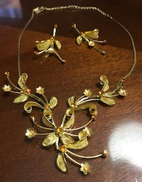 Vintage gold mesh flower jewelry rhinestones set earrings & necklace