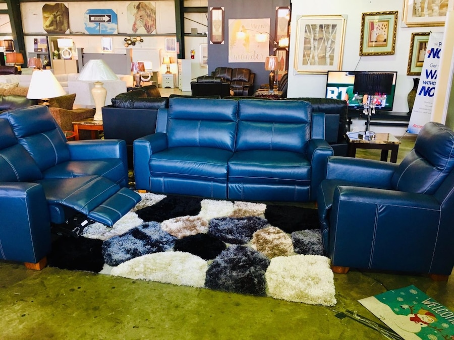 Blue Leather Sofa Set With Throw Pillows