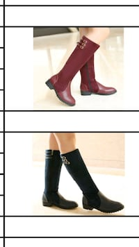 two pairs of red and black mid-calf boots collage Toronto, M1G 1R8
