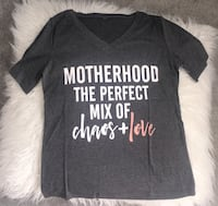 black motherhood the perfect mix of chaos + love-printed v-neck t-shirt Waterloo, N2K 0B3