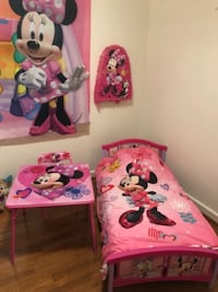 pink and purple Minnie Mouse bed frame WASHINGTON