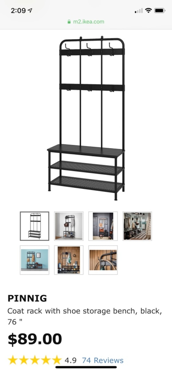 Awe Inspiring Ikea Pinnig Coat Rack Black Metal Entryway Bench With Shoe Storage Ocoug Best Dining Table And Chair Ideas Images Ocougorg
