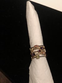 New Beautiful Multi stone gold plated ring 8 Vaughan