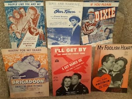 Six (6) Vintage Sheet Music  People Like You and Me Vintage Sheet Music Mack Gordon Harry Warren 1942 (loose sheet)  Our Town Love and Marriage  Paramount Dixie - If You Please  Brigadoon - Waitin For My Dearie (loose middel sheet)  I'll Get By - A Guy Na