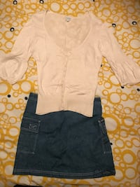 Women's off white deep v-neck button-up shirt and blue denim skirt Toronto, M8Y 3L7