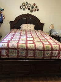 Brown antiquewooden bed frame, includes matching dresser and night stand. Price is negotiable. Guelph, N1H 1W2