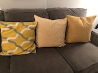 3 West Elm Pillows - yellow, white & grey Washington, 20009